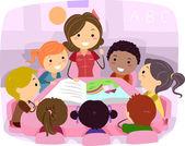Ilustracja dzieci słuchania opowiadania — Zdjęcie stockowe