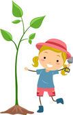 Kid Cultivating Plant — Stock Photo