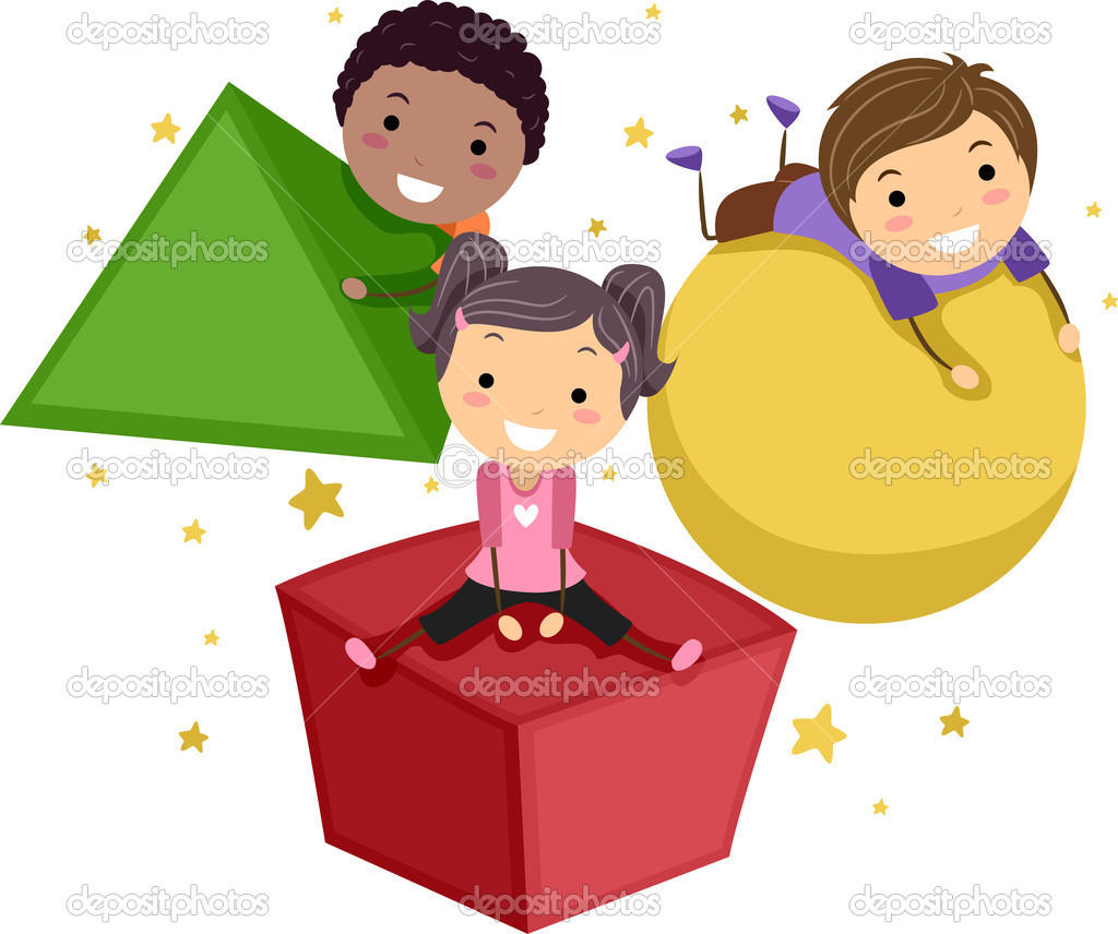 Illustration of Kids Playing with Objects of Different Shapes — Stock Photo #6856672