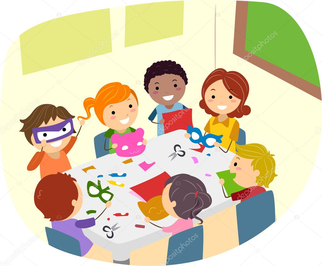 Illustration of Kids Making Paper Crafts — Stock Photo #6856743