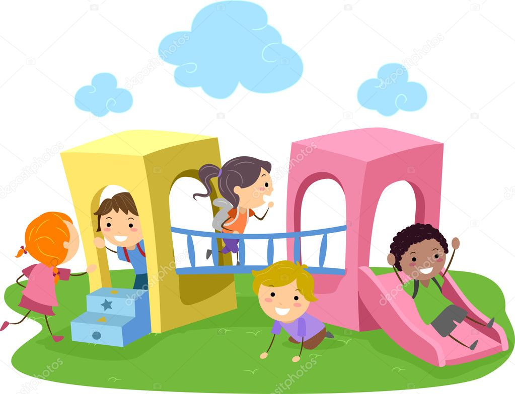 Illustration of Kids Playing in a Playground — Stock Photo #6856793