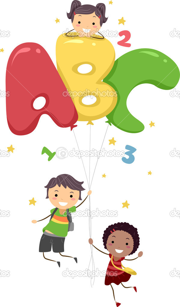 Illustration of Kids Playing with Letter-Shaped Balloons — Stock Photo #6857088