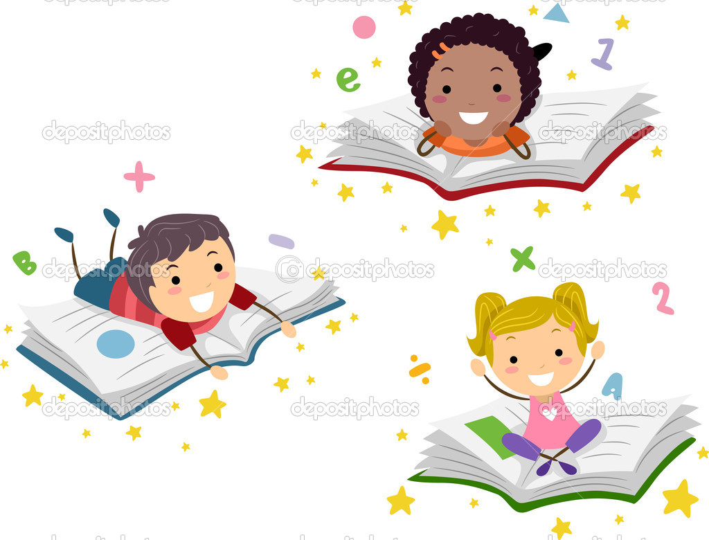 Illustration of Kids Lying on Books — Stock Photo #6857223