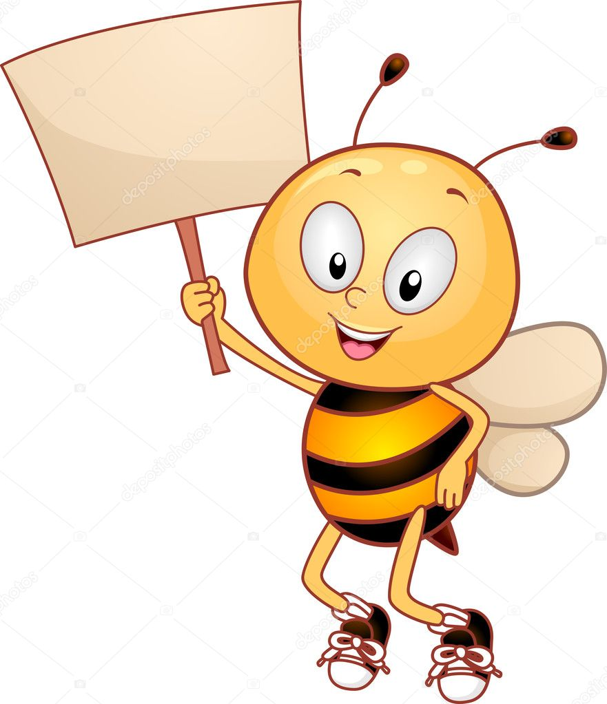 Illustration of a Bee Holding a Placard — Stock Photo #6857304