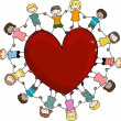 Kids Surrounding a Heart — Stock Photo