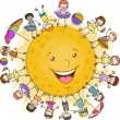 Kids Surrounding the Sun — Stock Photo
