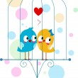 Stock Photo: Lovebirds in Cage