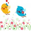 Stock Photo: Lovebirds Playing in Garden