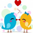 Lovebirds Kissing - Stock Photo