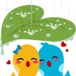 Stock Photo: Lovebirds Sheltering From Rain