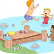 Camp Swimming — Stockfoto