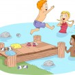 Foto Stock: Camp Swimming