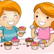 Kids Decorating Cupcakes — Stock Photo