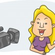 Girl in Front of a Camera — Stock Photo #7475543