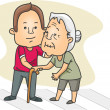 图库照片: MHelping Old Lady Cross Street
