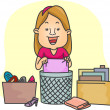 Постер, плакат: Girl Organizing Her Things