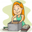 Girl Packing Old Books - Stock Photo