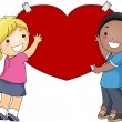 Kids Putting a Giant Heart on the Wall — Stock Photo