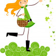 Girl Scattering Clovers — Stock Photo