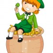 Girl Sitting on a Pot of Gold — Stock Photo