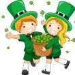 Kids Scattering Clovers — Stock Photo
