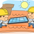 Royalty-Free Stock Photo: Solar Panel Installer