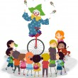 Unicycle Clown — Stock Photo