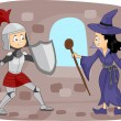 Knight Fighting a Witch — Stock Photo