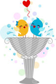 Lovebirds Playing in a Bird Bath — Stock Photo
