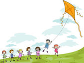 Kids Playing with a Kite — Stock Photo