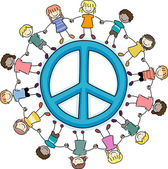 Kids Surrounding a Peace Sign — Foto Stock
