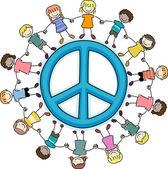 Crianças em torno de um símbolo da paz — Foto Stock
