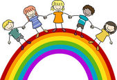 Kids Standing on Top of a Rainbow — Stock Photo