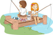 Camp Fishing — Stock Photo