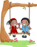 Kids on a Swing — Stock Photo