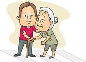 Mann helfen, eine alte dame, die die straße überqueren — Stockfoto