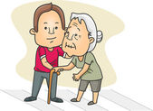Muž pomáhá stará dáma přes ulici — Stock fotografie