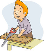 Man Sawing Wood — Stockfoto
