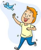Man Chasing a Bird — Stock Photo