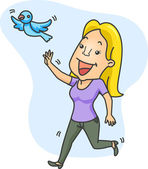 Girl Chasing Bird — Stock Photo