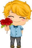 Boy Presenting a Flower — Stock Photo