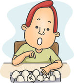 Man Counting Eggs — Stockfoto