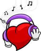 Heart Listening to Music — Stock Photo