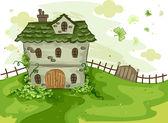 Yoncaları tarafından çevrili ev — Stok fotoğraf