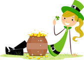 Girl Sitting Beside a Pot of Gold — Stock Photo