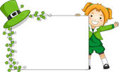 Girl Holding a St. Patrick-Themed Banner — Stock Photo