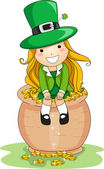 Girl Sitting on a Pot of Gold — Foto Stock