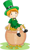 Boy Sitting on a Pot of Gold — Stock Photo