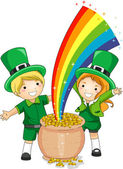 Kids Standing in Front of a Pot of Gold — Stock Photo