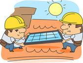 Solar Panel Installer — Stock Photo
